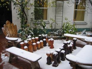 Winter snow outdoors Vienna - quiet Hostel in the winter