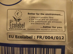 Eco Labeled toilet paper and hand towels for dispensers